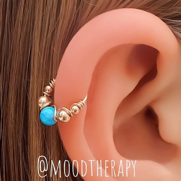 Blue Fire Opal Helix/Tragus Cartilage Hoop Earring